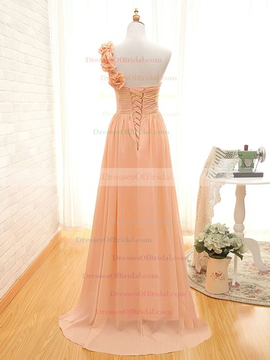 Girls Sweep Train Chiffon Lace-up with Flower(s) One Shoulder Orange Bridesmaid Dress #DOB01012434
