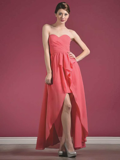 Sweetheart A-line Asymmetrical Chiffon Ruffles Bridesmaid Dresses #DOB01012435