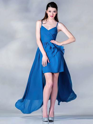 V-neck A-line Asymmetrical Chiffon Ruffles Bridesmaid Dresses #DOB01012437