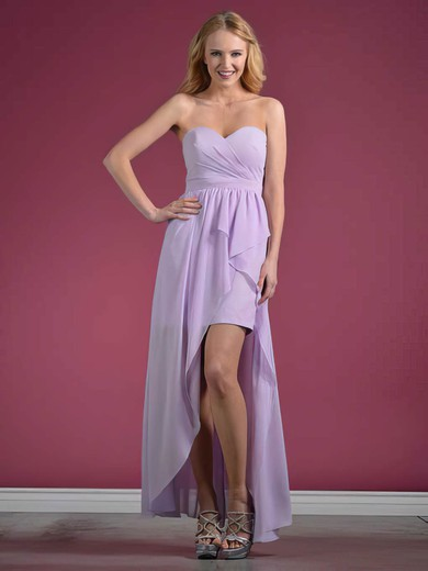 Sweetheart A-line Asymmetrical Chiffon Ruffles Bridesmaid Dresses #DOB01012438