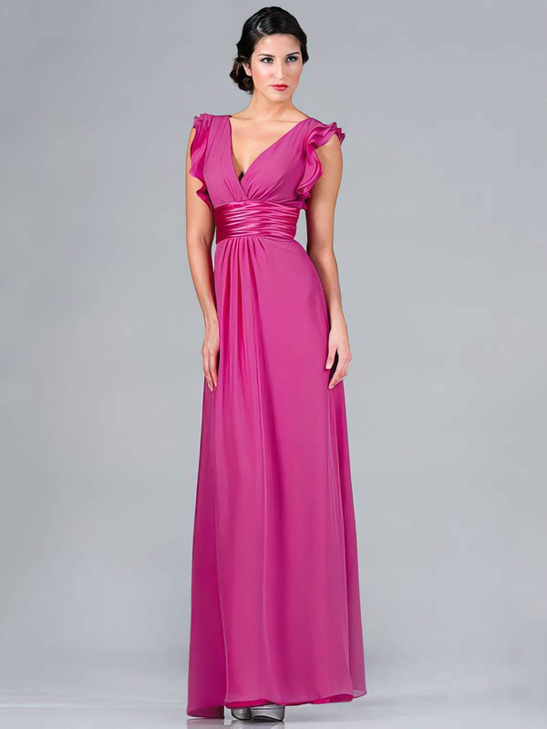 V-neck A-line Floor-length Chiffon Ruffles Bridesmaid Dresses #DOB01012439