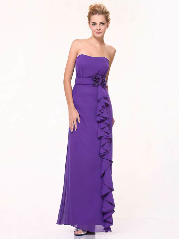 Sweetheart Sheath/Column Floor-length Chiffon Ruffles Bridesmaid Dresses #DOB01012440