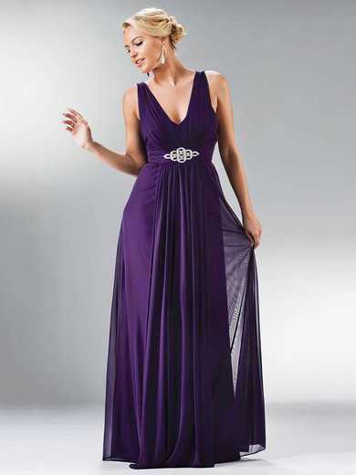 V-neck A-line Floor-length Chiffon Beading Bridesmaid Dresses #DOB01012441