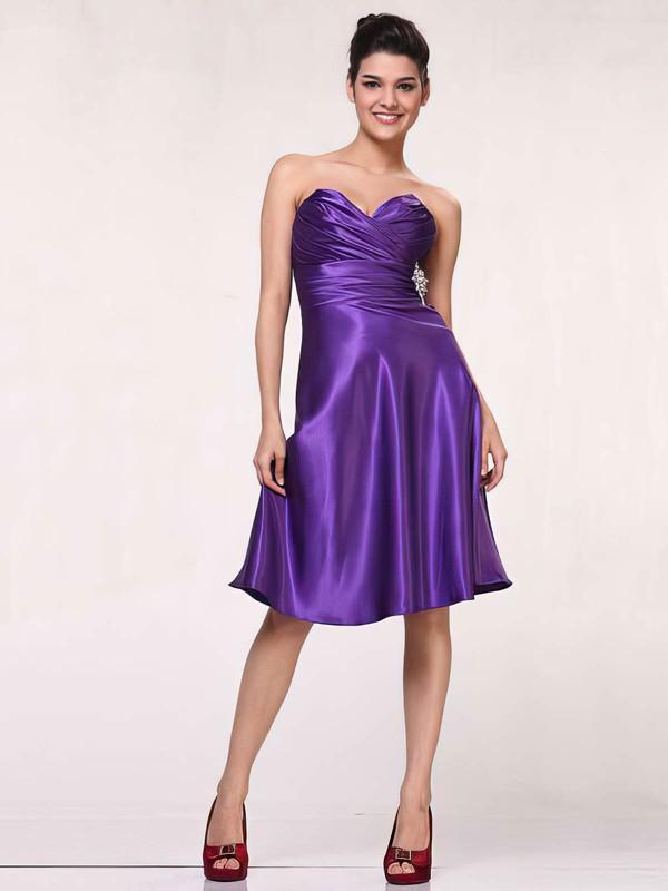 Sweetheart A-line Knee-length Silk-like Satin Ruffles Bridesmaid Dresses #DOB01012443