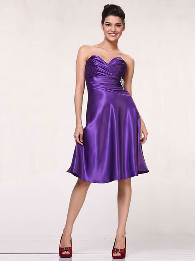 Sweetheart A-line Knee-length Silk-like Satin Ruffles Bridesmaid Dresses #DOB01012443