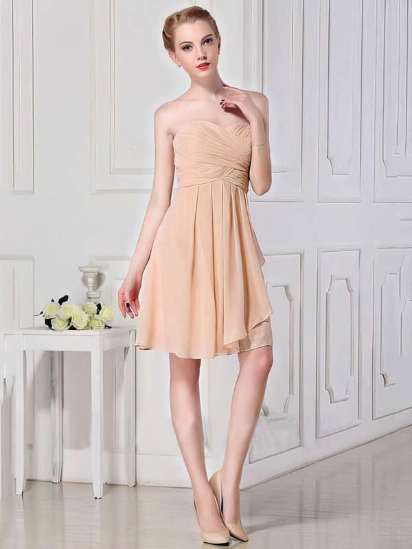 Sweetheart A-line Short/Mini Chiffon Ruffles Bridesmaid Dresses #DOB01012448