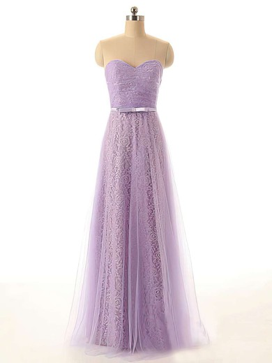 Sweetheart Simple Tulle Lace with Sashes/Ribbons A-line Lilac Bridesmaid Dresses #DOB01012449