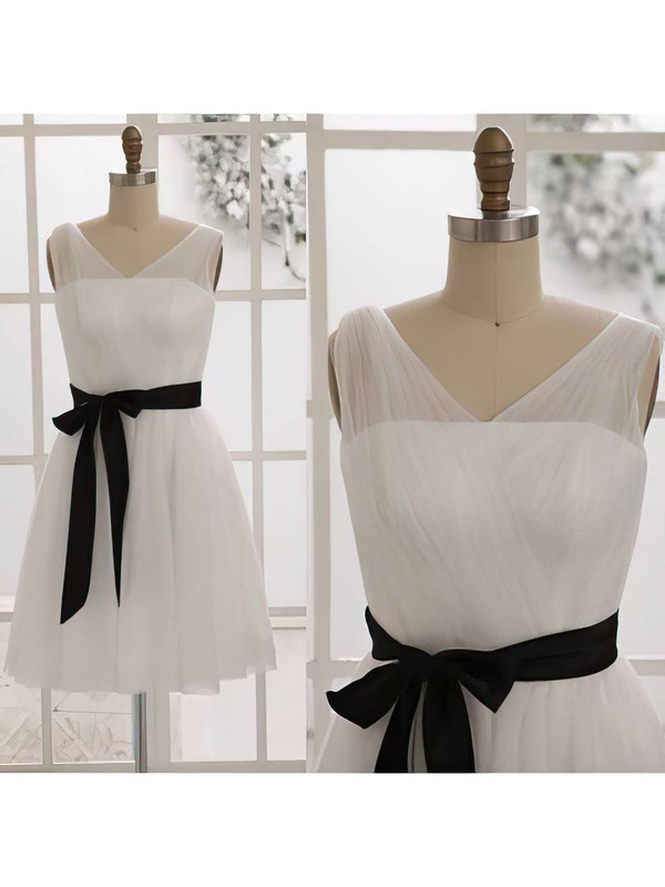 A-line Tulle with Sashes/Ribbons V-neck Custom Ivory Bridesmaid Dresses #DOB01012452