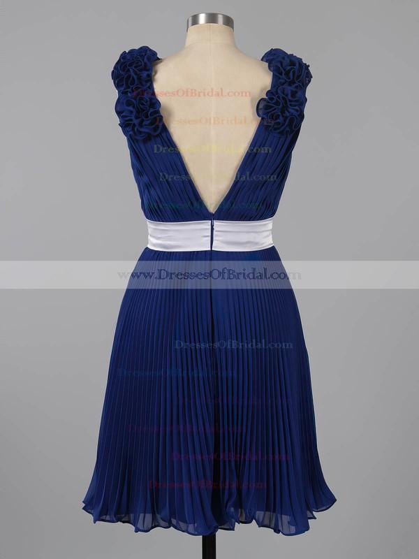 Short/Mini Chiffon Sashes/Ribbons V-neck Different Dark Navy Bridesmaid Dresses #DOB01012454
