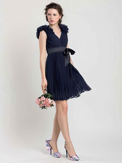 Short/Mini Chiffon Sashes/Ribbons V-neck Different Dark Navy Bridesmaid Dresses #DOB01012454