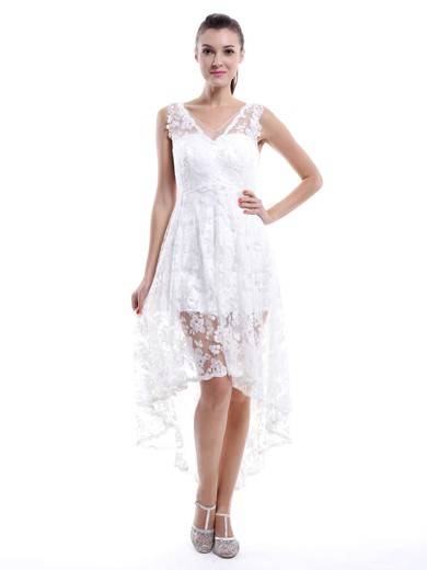 High Low Asymmetrical White Lace Ruffles V-neck Bridesmaid Dresses #DOB01012456