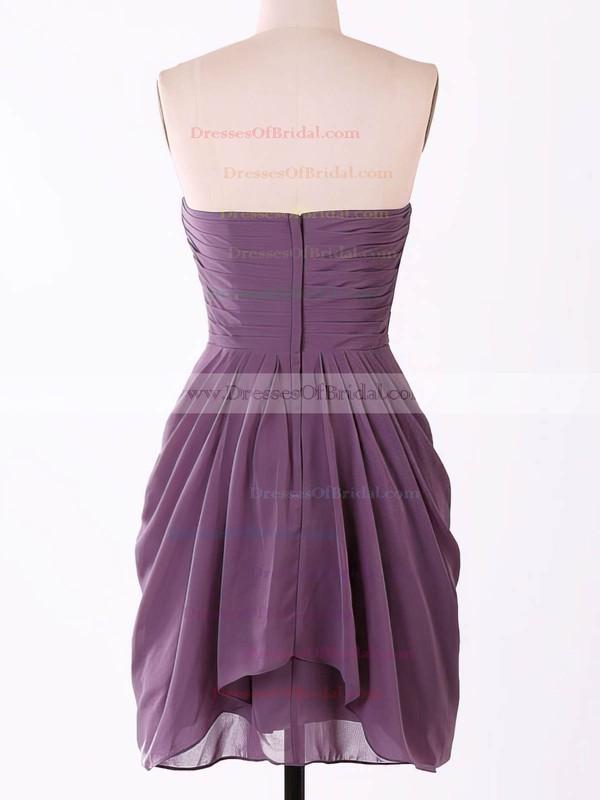 Popular Sweetheart Chiffon Flower(s) Grape Short/Mini Bridesmaid Dresses #DOB01012457