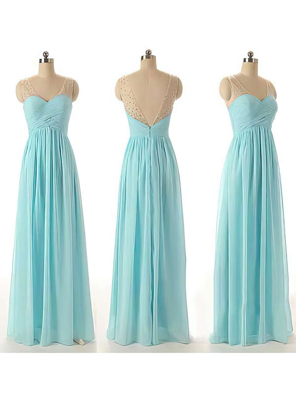 Top V-neck Chiffon Tulle with Beading Blue Floor-length Bridesmaid Dresses #DOB01012460