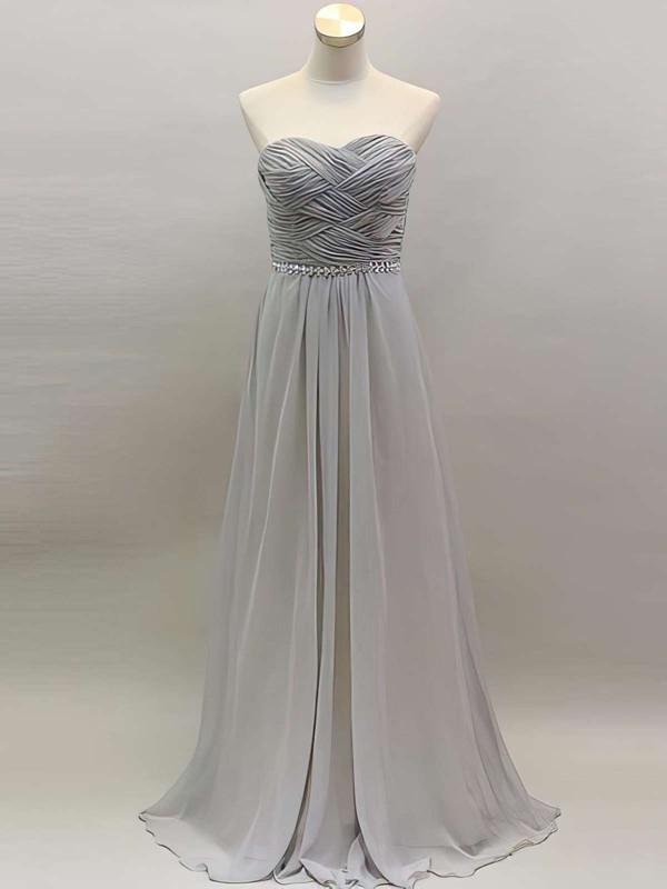 Cool Light Slate Gray Chiffon with Beading Sweetheart A-line Bridesmaid Dress #DOB01012461