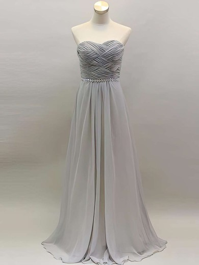 Cool Light Slate Gray Chiffon with Beading Sweetheart A-line Bridesmaid Dress #DOB01012461