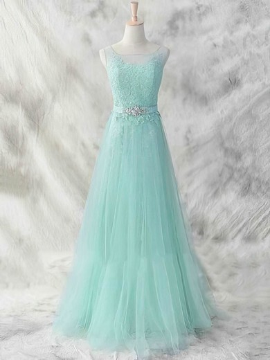 Scoop Neck A-line Court Train Tulle Appliques Lace Bridesmaid Dresses #DOB01012462