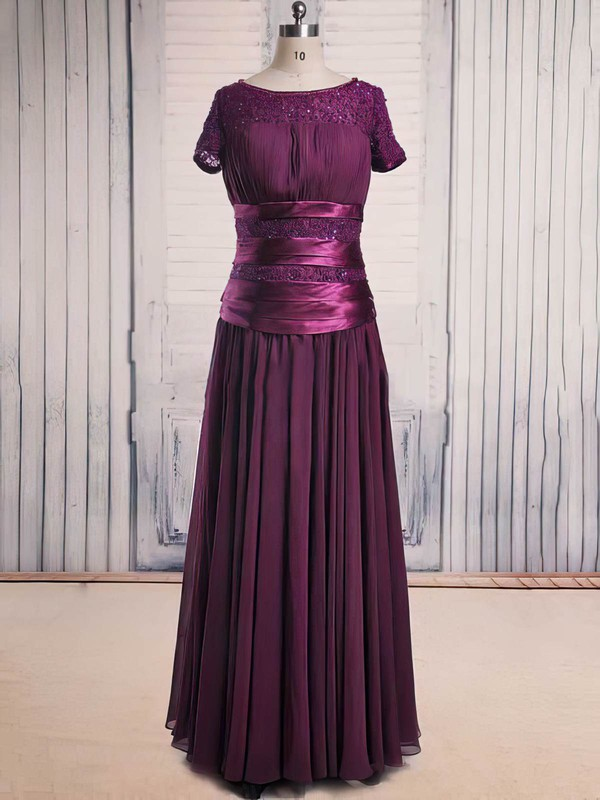 Floor-length Short Sleeve Scoop Neck Lace Chiffon Beading Latest Purple Mother of the Bride Dress #DOB01021563