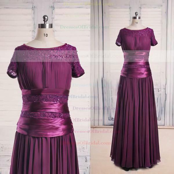 Floor-length Short Sleeve Scoop Neck Lace Chiffon Beading Latest Purple Mother of the Bride Dress #DOB01021563