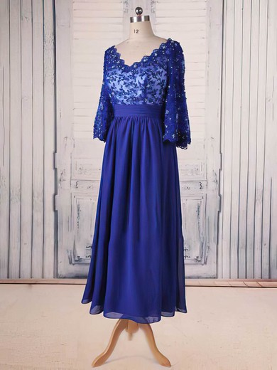 Tea-length 1/2 Sleeve V-neck Royal Blue Chiffon Lace Beading Elegant Mother of the Bride Dress #DOB01021564