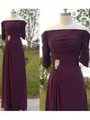Modern 1/2 Sleeve Off-the-shoulder Pleats Chiffon Purple Mother of the Bride Dress #DOB01021566