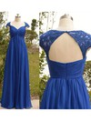 A-line Royal Blue Chiffon Tulle Cap Straps Appliques Lace Sweetheart Mother of the Bride Dress #DOB01021567