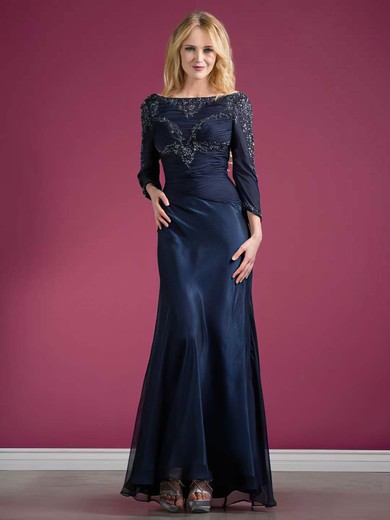 Off-the-shoulder Trumpet/Mermaid Ankle-length Chiffon Elastic Woven Satin Beading Mother of the Bride Dresses #DOB01021569