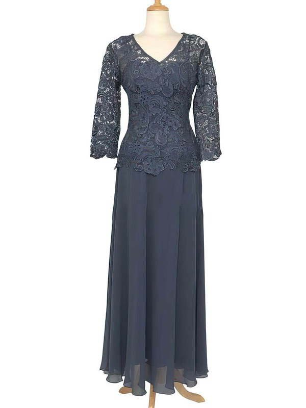 3/4 Sleeve Floor-length Lace Chiffon Ruffles Pretty V-neck Mother of the Bride Dress #DOB01021558