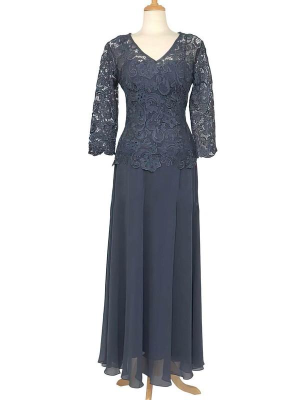 3/4 Sleeve Floor-length Lace Chiffon Ruffles Pretty V-neck Mother of the Bride Dress #DOB01021558