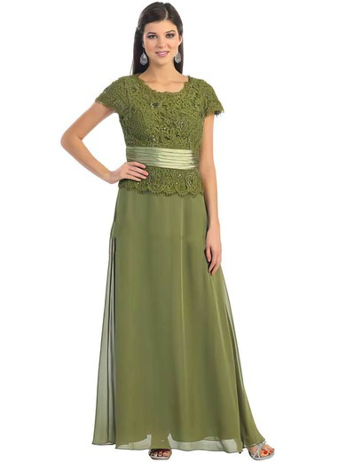 Scoop Neck A-line Ankle-length Lace Chiffon Beading Mother of the Bride Dresses #DOB01021560