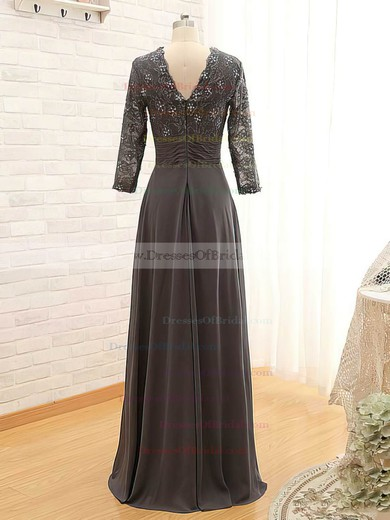 Gray Lace Chiffon Unique V-neck with Beading 3/4 Sleeve Mother of the Bride Dress #DOB01021561