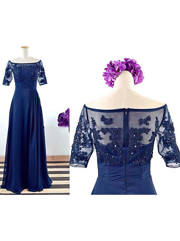 Best Royal Blue Short Sleeve Chiffon Tulle Appliques Lace Off-the-shoulder Mother of the Bride Dress #DOB01021562