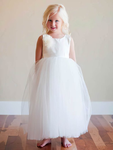 Ivory Tulle Satin Scoop Neck Flower(s) Ankle-length Flower Girl Dresses #DOB01031793
