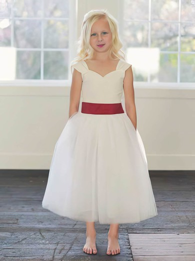 Sweetheart A-line Ankle-length Tulle Sashes / Ribbons Flower Girl Dresses #DOB01031794