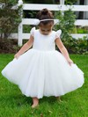 Scoop Neck Ivory Tulle Lace Covered Button Ball Gown Flower Girl Dress #DOB01031795