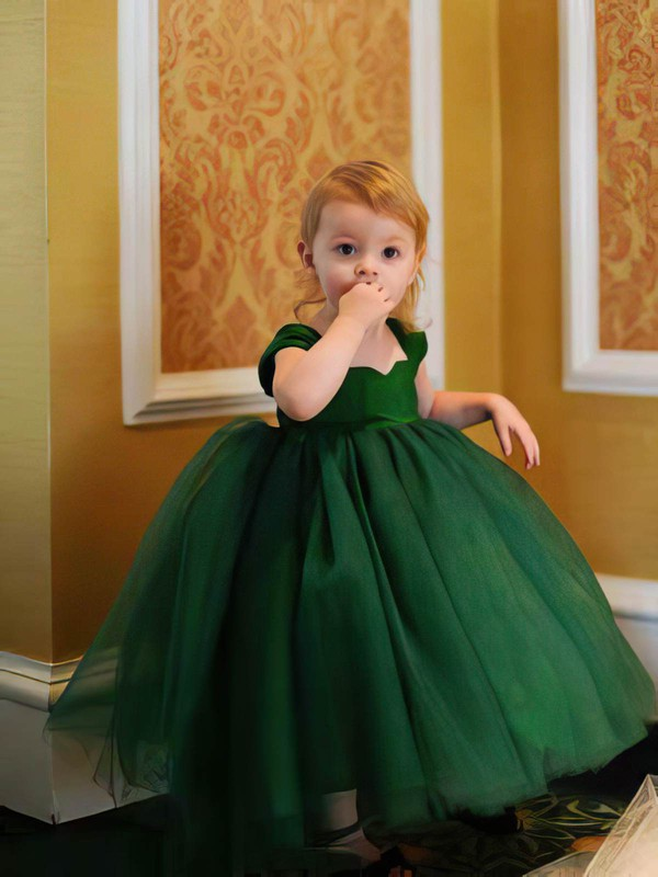 Ball Gown Ruffles Dark Green Tulle Tea-length Modern Flower Girl Dress #DOB01031797