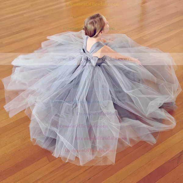 Top A-line Silver Tulle with Bow Square Neckline Flower Girl Dresses #DOB01031798