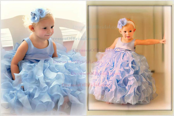 Ball Gown Scoop Neck with Flower(s) Light Sky Blue Organza Flower Girl Dress #DOB01031801
