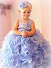 Ball Gown Scoop Neck with Flower(s) Light Sky Blue Organza Flower Girl Dress #DOB01031801