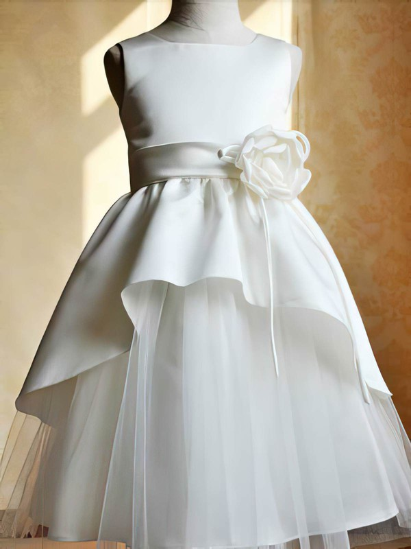 Ankle-length Scoop Neck Flower(s) Ivory Satin Tulle Zipper Beautiful Flower Girl Dresses #DOB01031802