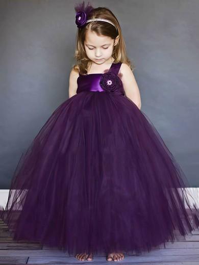 Best Square Neckline Flower(s) Purple Tulle Ball Gown Flower Girl Dresses #DOB01031803