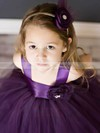 Best Square Neckline Flower(s) Purple Tulle Ball Gown Flower Girl Dresses #DOB01031803