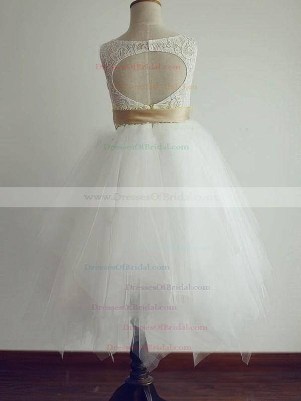 Tea-length Open Back Sashes/Ribbons Ivory Lace Tulle Flower Girl Dresses #DOB01031804