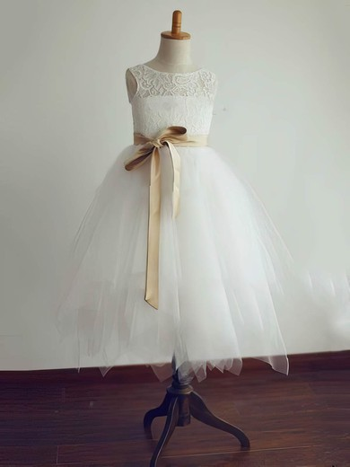 Tea-length Open Back Sashes/Ribbons Ivory Lace Tulle Flower Girl Dresses #DOB01031804