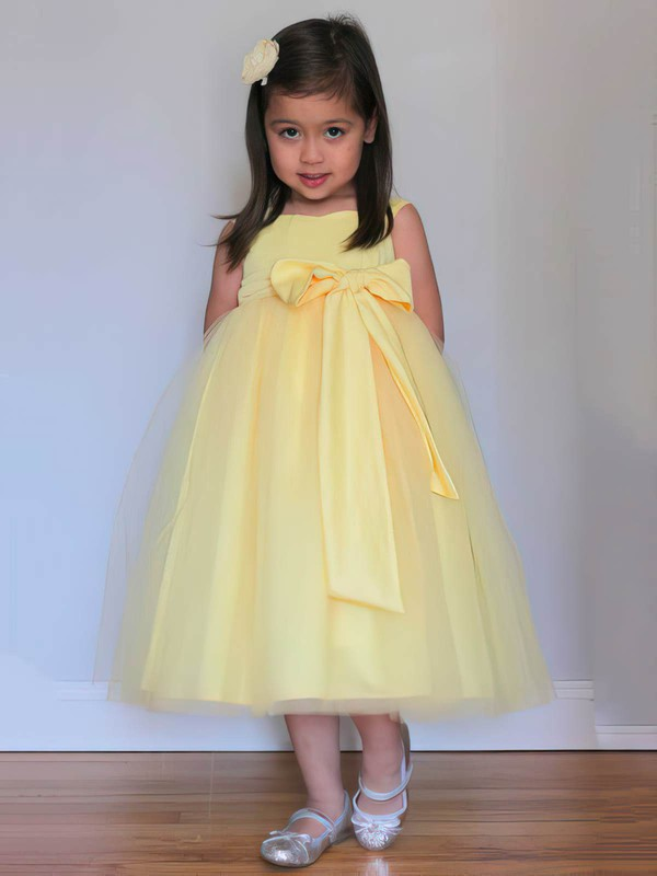 Elegant Square Neckline with Bow Tea-length Yellow Tulle Flower Girl Dresses #DOB01031805