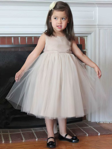 Nice Tulle with Bow Scoop Neck Tea-length Flower Girl Dress #DOB01031806