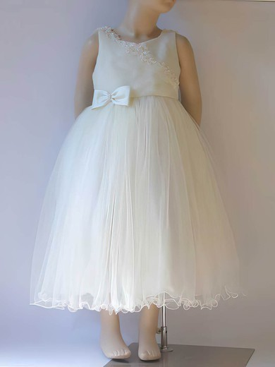 Tea-length Scoop Neck Appliques Lace Ivory Satin Tulle Affordable Flower Girl Dress #DOB01031807