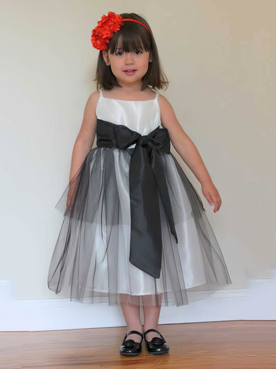 Tea-length Tulle Taffeta Covered Button Sashes/Ribbons Square Neckline Flower Girl Dress #DOB01031808