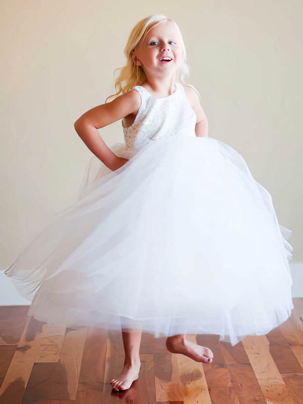 Princess Ruffles Lace Tulle Popular Ankle-length White Flower Girl Dress #DOB01031809