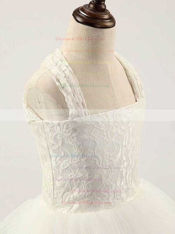Ivory Square Neckline Lace Tulle Floor-length Cheap Flower Girl Dress #DOB01031810