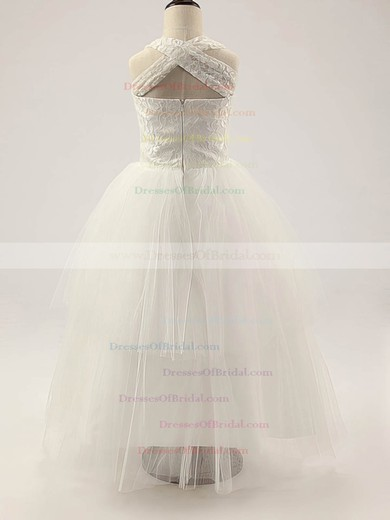 Ivory Square Neckline Lace Tulle Floor-length Cheap Flower Girl Dress #DOB01031810